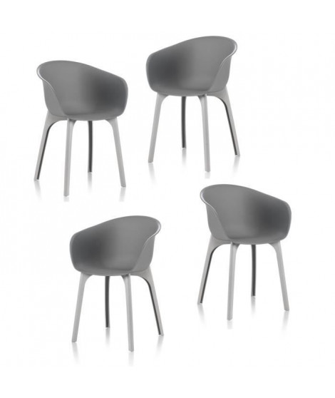 IDEA Lot de 4 chaises de jardin - Diva - Grise