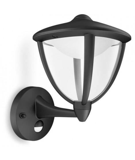 ROBIN-Applique d'extérieur Montante LED avec Détecteur H26cm Noir Philips