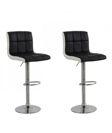 JOKER Lot de 2 tabourets de bar - Simili noir et blanc - Style contemporain - L  45 x P 49,5 cm