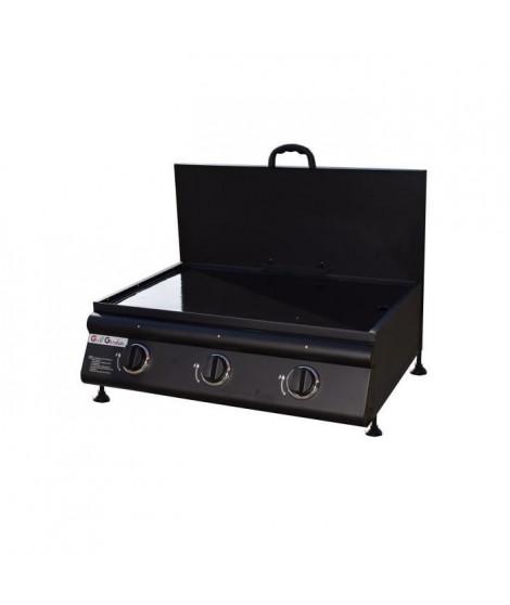 CASTELLA Plancha gaz 3 feux avec couvercle fourni - Noir mat