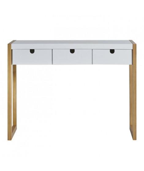 KARE Console 3 tiroirs - Décor chene et blanc - L 101 x P 37 x H 77 cm