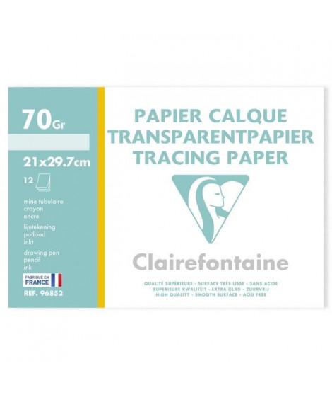 CLAIREFONTAINE - Papier calque - 21 x 29,7 - 12 feuilles - 70/75G