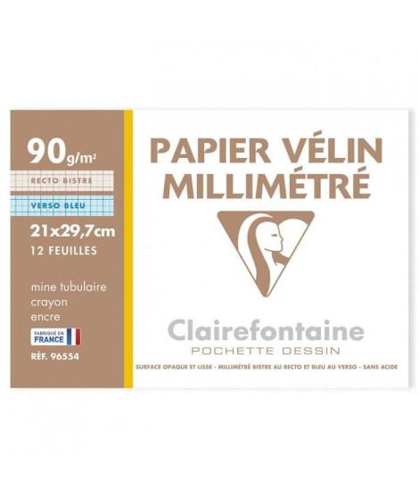 CLAIREFONTAINE - Pochettes dessin Papier millimétré P.E.F.C - Bistre/Bleu - 21 x 29,7 - 12 feuilles - 90G