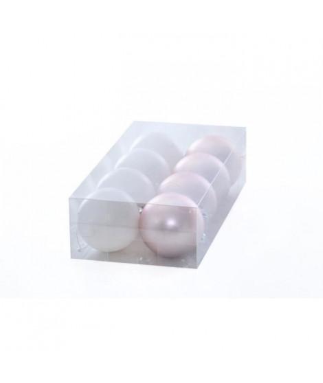Set de 8 boules déco de Noël - Ø 5 cm - Rose poudré et blanc nacré