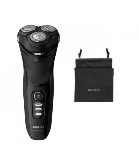 PHILIPS S3233/52 Rasoir électrique Series 3000 100% - 27 lames auto-affûtées pour raser de pres, sur peau seche ou humide