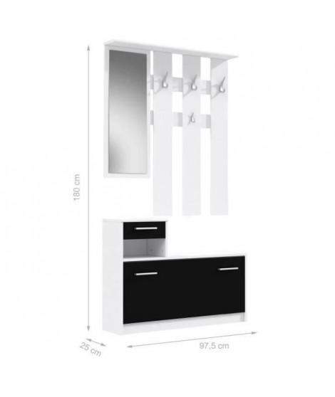 FINLANDEK Vestiaire d'entrée PEILI contemporain blanc et noir mat - L 97,5 cm
