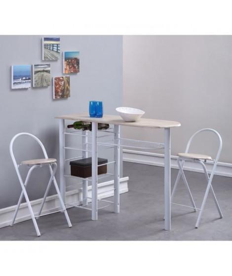 FIRST Table bar en métal et MDF 2 personnes 120x40 cm + 2 tabourets - Décor chene et blanc