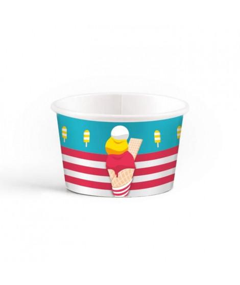 AMSCAN  Lot de 8 Pots de glace Summer Stories 270 ml