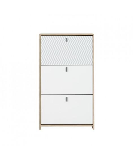 JANEIRO Meuble a chassures - Style scandinave - décor chene et blanc - L 68 x P 30 x H 116 cm