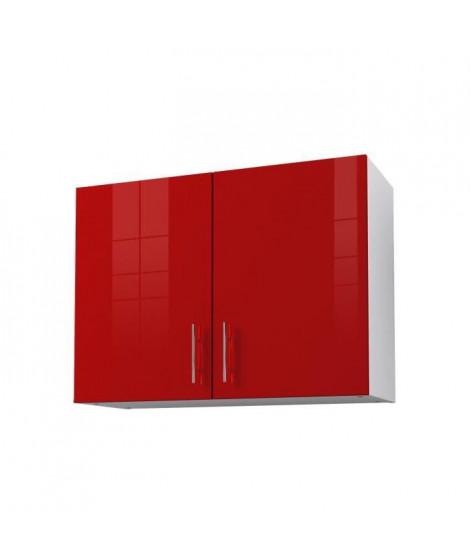 OBI Caisson haut de cuisine avec 2 portes L 80 cm - Blanc et rouge laqué brillant