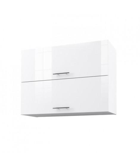 OBI Caisson haut de cuisine avec 2 portes L 80 cm - Blanc et blanc laqué brillant