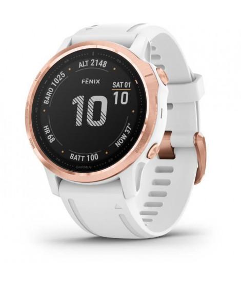 Garmin fenix 6S PRO - Montre GPS multisports haut de gamme - Rose Gold avec bracelet blanc