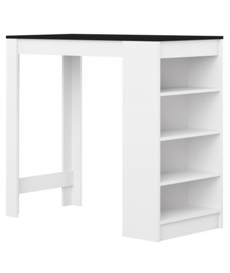 Table bar de 4 a 6 personnes style contemporain blanc et noir mat - L 115 x l 50 cm