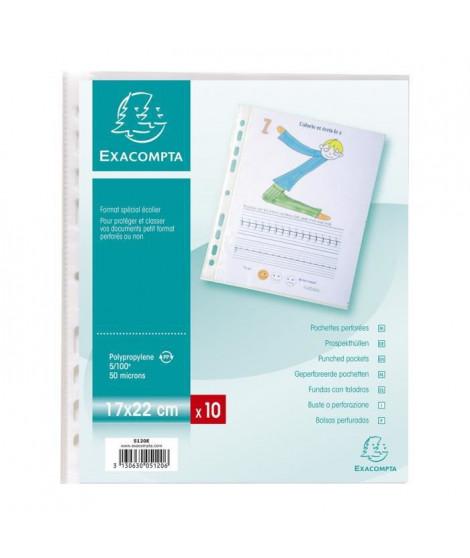 EXACOMPTA - 10 pochettes perforées - 17 x 22 - Polypropylene grainé - Incolore - 5/100eme - 9 trous - Sous film