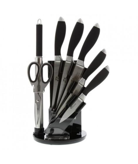 PRADEL EXCELLENCE Bloc tournant de 5 couteaux de cuisine + fusil et ciseau I7408N 2,5-8,5-11-20cm noir