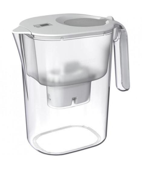 PHILIPS AWP2938WHT - Carafe filtrante 4 litres avec minuteur numérique de changement de cartouche + 1 filtre X-Clean - Blanche