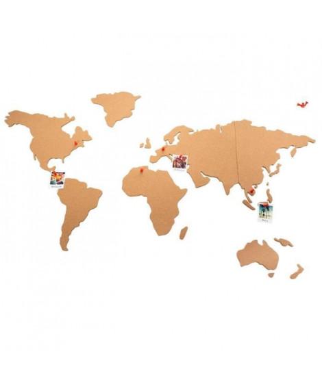 Carte du monde en liege - 102 x 50 cm - Beige