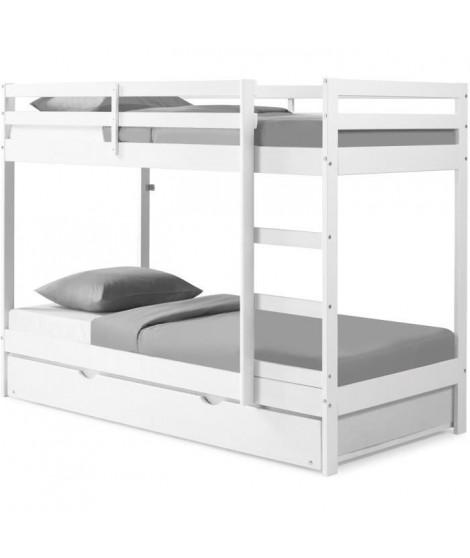 Lit superposé enfant avec tiroir lit - Bois Pin massif - Blanc - Sommiers inclus - 3 x 90 x 190 cm - FOSTER