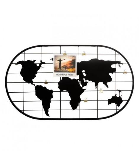 Porte-photo carte du monde en métal - 60 x 35 cm - Noir