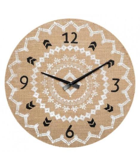 Horloge en lin - Ø38 cm - Beige
