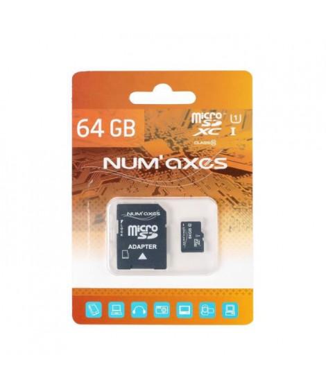 NUMAX Carte mémoire Micro SDXC 64 Go Classe 10 avec adaptateur