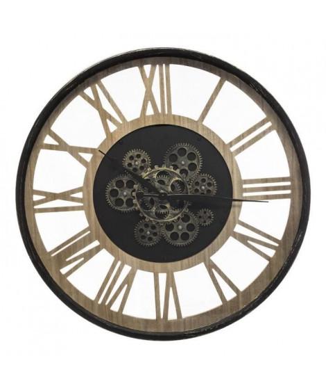 Horloge mécanique en métal et MDF - Ø57 cm - Noir