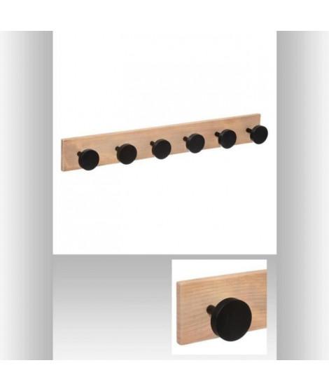 Patere en bois 6 tetes - Noir