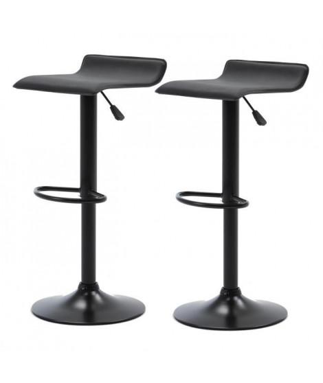 Lot de 2 tabourets de bar réglable en hauteur - Noir - L 38 x P 39 x H 64/85 cm - MATIA