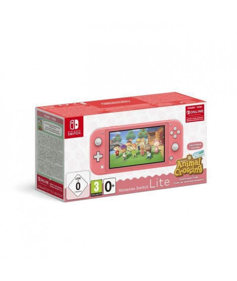 Pack Nintendo Switch Lite Corail + Animal Crossing New Horizons + Abonnement 3 mois Individuel au service Nintendo Switch Online
