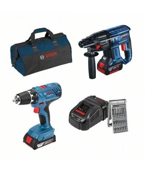 Pack 2 outils BOSCH PROFESSIONAL Perceuse-visseuse sans-fil GSR 18V-28, Marteau Perforateur GBH 18V-21