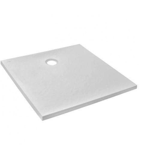 Jacob Delafon E62300-WPM Ipso Receveur de douche extra-plat 80x80x3 cm  Blanc Mat Texture Pierre