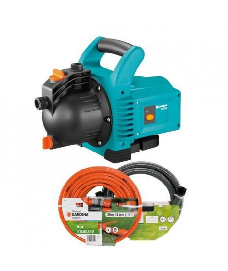 GARDENA Kit pompe de surface 3000/4 + kit d'aspiration 3,5m + batterie de tuyau Classic - 20m, 13mm