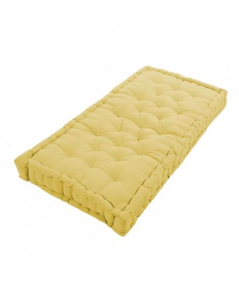 COTTON WOOD Coussin de palette 100 % Coton uni - 60x120x10 cm - Jaune moutarde