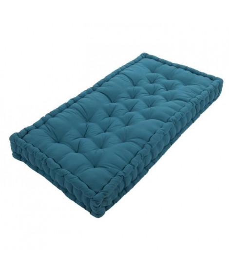 COTTON WOOD Coussin de palette 100 % Coton uni - 60x120x10 cm - Bleu canard