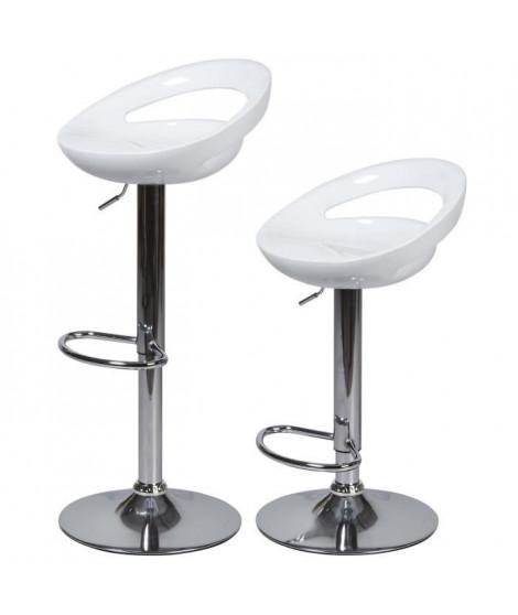 Lot de 2 tabourets de bar télescopique - Blanc - Pieds métal chromé - L 46 x P 35 x H 60 cm - MONACO