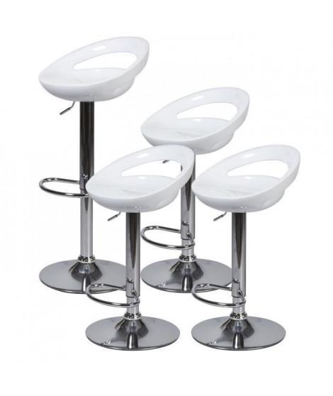 Lot de 4 tabourets de bar télescopique - Blanc - Pieds métal chromé - L 46 x P 35 x H 60 cm- MONACO