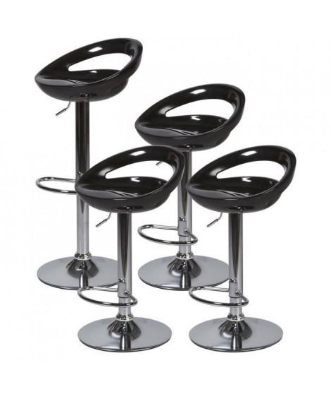 Lot de 4 tabourets de bar télescopique - Noir - Pieds métal chromé - L 46 x P 35 x H 60 cm - MONACO