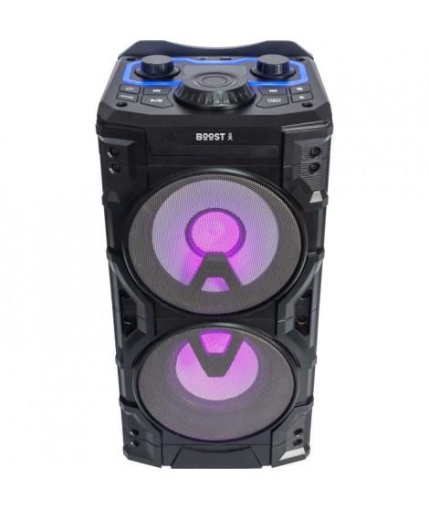 BOOST - Enceinte POWERSOUND300CD-SB - 2 voies a Led - Lecteur CD, USB, Bluetooth et télécommande