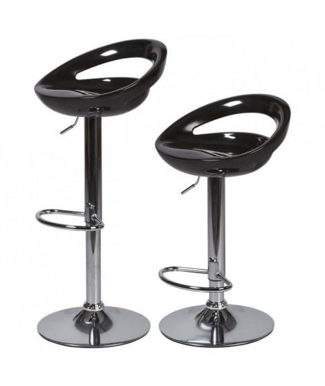 Lot de 2 tabourets de bar télescopique - Noir - Pieds métal chromé - L 46 x P 35 x H 60 cm - MONACO