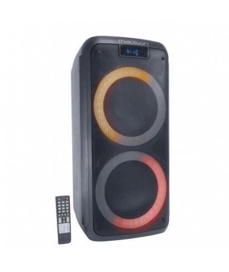 MADISON - ENCEINTE MAD-LUNA600 - 2 boomers - Lecteur USB, MicroSD, et Bluetooth - 2 entrées micro - Ecran LED