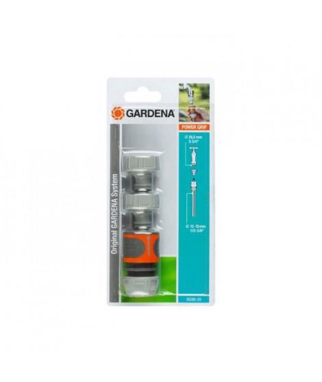 Kit d'arrosage pour robinet extérieur 13 mm 1/2 - 15 mm 1/2 - 1 raccord - 2 nez de robinet GARDENA - 18286-20