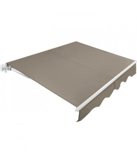 BEAURIVAGE Store banne manuel 3 x 2 m sans coffre - toile taupe avec structure blanche