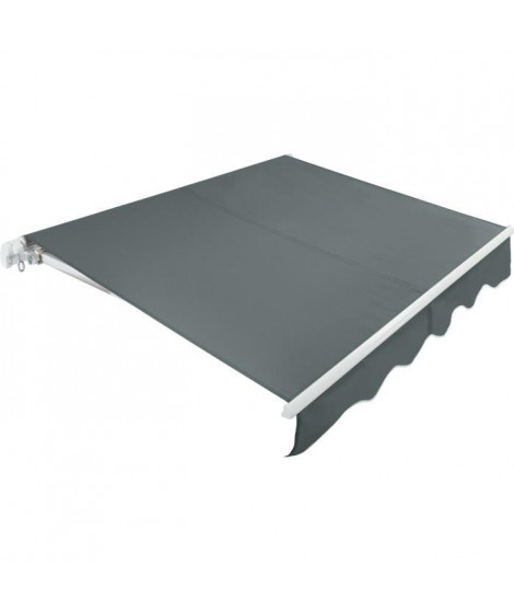 BEAURIVAGE Store banne manuel 3 x 2 m sans coffre - toile grise avec structure blanche