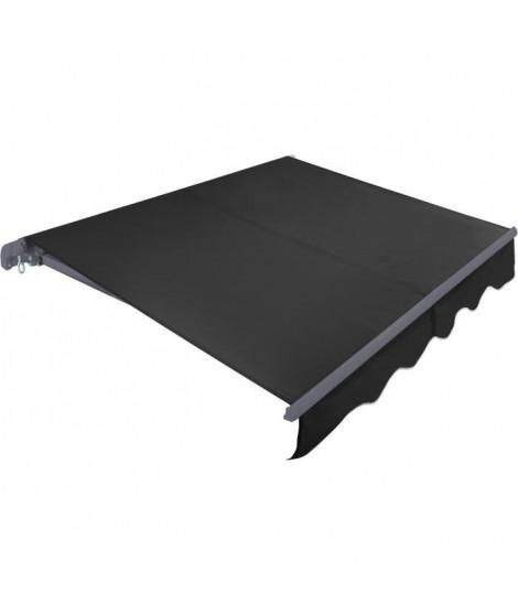 BEAURIVAGE Store banne manuel 3 x 2 m sans coffre -  toile grise anthracite avec structure grise anthracite