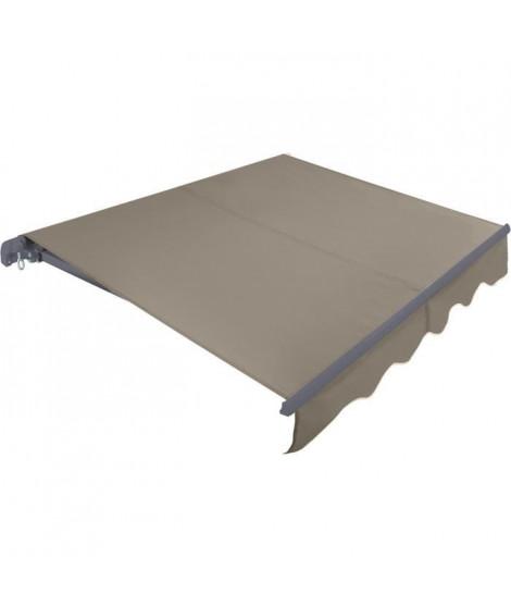 BEAURIVAGE Store banne manuel 3 x 2 m sans coffre - toile  taupe avec structure grise anthracite