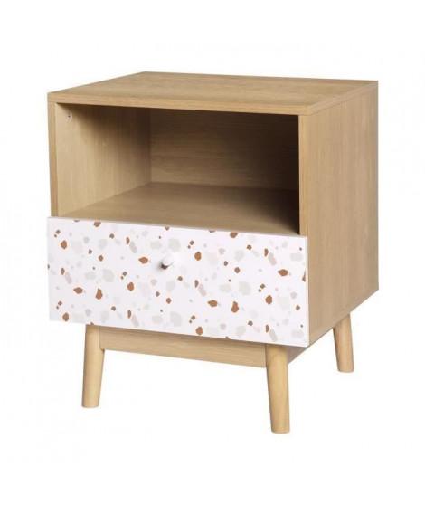 Table de chevet 1 tiroir - En panneaux de particules avec piétement en Bois massif - GARDENIA