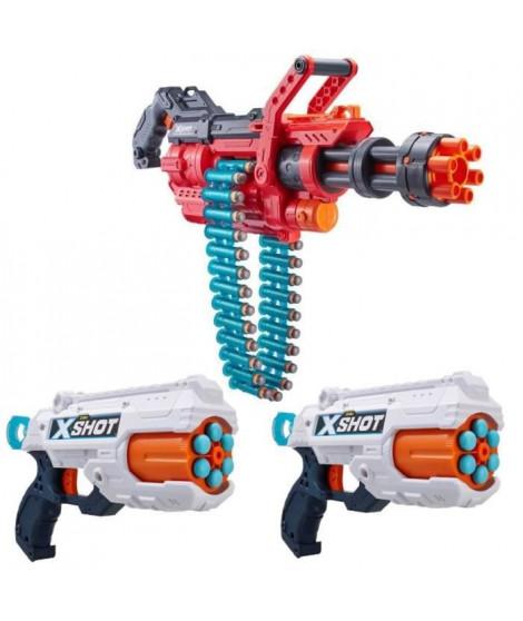 SUPER PACK XSHOT 3 pistolets: 1 canon OMEGA + 2 Reflex6 + 98 fleches