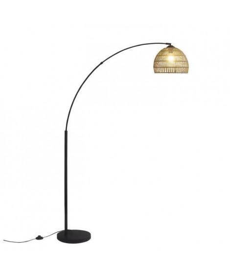 Lampadaire Arc aspect rotin Hauteur 170cm - E27 - 40 W - Noir