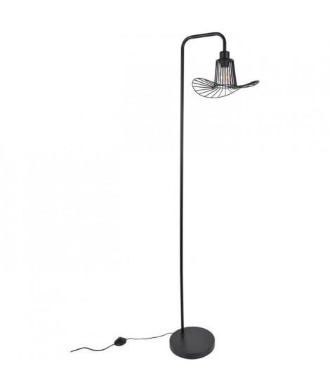 Lampadaire base ronde - Métal - H 160 x Ø 30 x P 42 cm - Noir