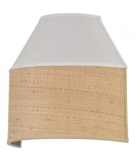 Applique - Coton et raphia naturel - H 20 x L 20,5 x 10 cm - Blanc